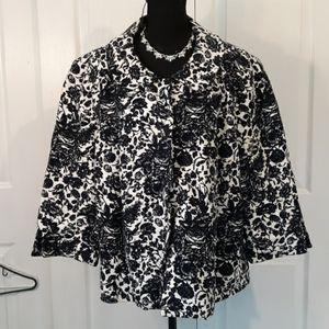 Talbots Black and White Floral Blazer Size 18W